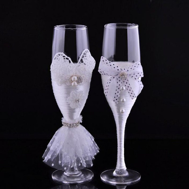 Exquisite Crystal Wine Gles Handmade Feather Bride Wedding New Toasting Flutes Champagne Decoration