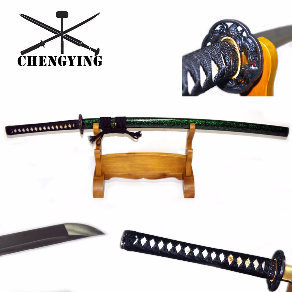 Hand Forged Quenched 9260 Spring Steel Full Tang Blade Japanese Katana Samurai Battle Ready Sword Sharpened