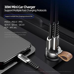 Image 3 - ロック急速充電 4.0 3.0 車の充電器 30 ワット USB C pd QC4.0 QC3.0 qc 5A 急速充電器ベルトデュアル usb ミニ自動車電話充電器新