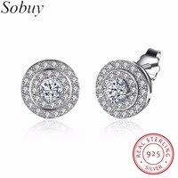 SOBUY Platine Boucle D'oreille avec 3 tours diamant, blanc Clair CZ Zircon Cubique Boucles D'oreilles pour Les Femmes Bijoux Bijoux