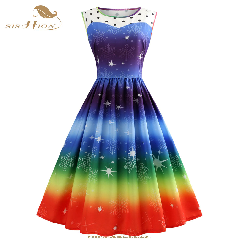 US $19.41 15% OFF|SISHION Plus Size Christmas Dress Sleeveless Snow Print  Gradient Color Elegant New Year Vintage Christmas Party Dresses VD0845-in  ...