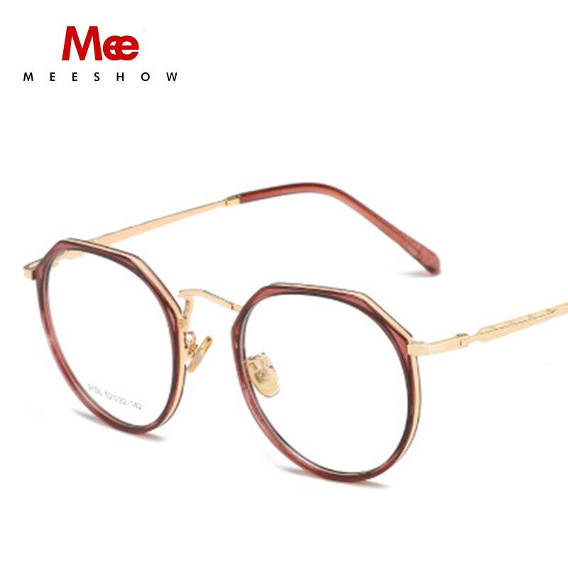 MEESHOW TR90 Glasses frame women clear eye glasses oversize titanium alloy prescription glasses men's round spectacle frame 9156