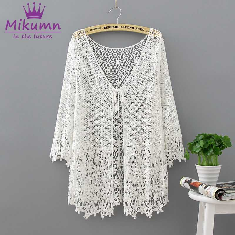 Mikumn Blusas Femininas 2019 Summer New Women Sweet Floral Hollow-Out Crochet Lace Cardigan Blouse Beach Tops Camisas Mujer