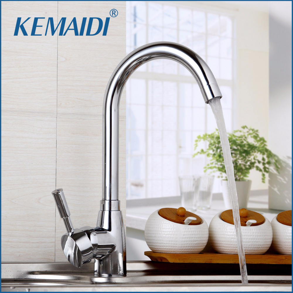 RU Free Shipping New Arrival Polished Chrome Brass Kitchen Faucet Single Handle Water Mixer Tap Deck Mounted Torneira Cozinha