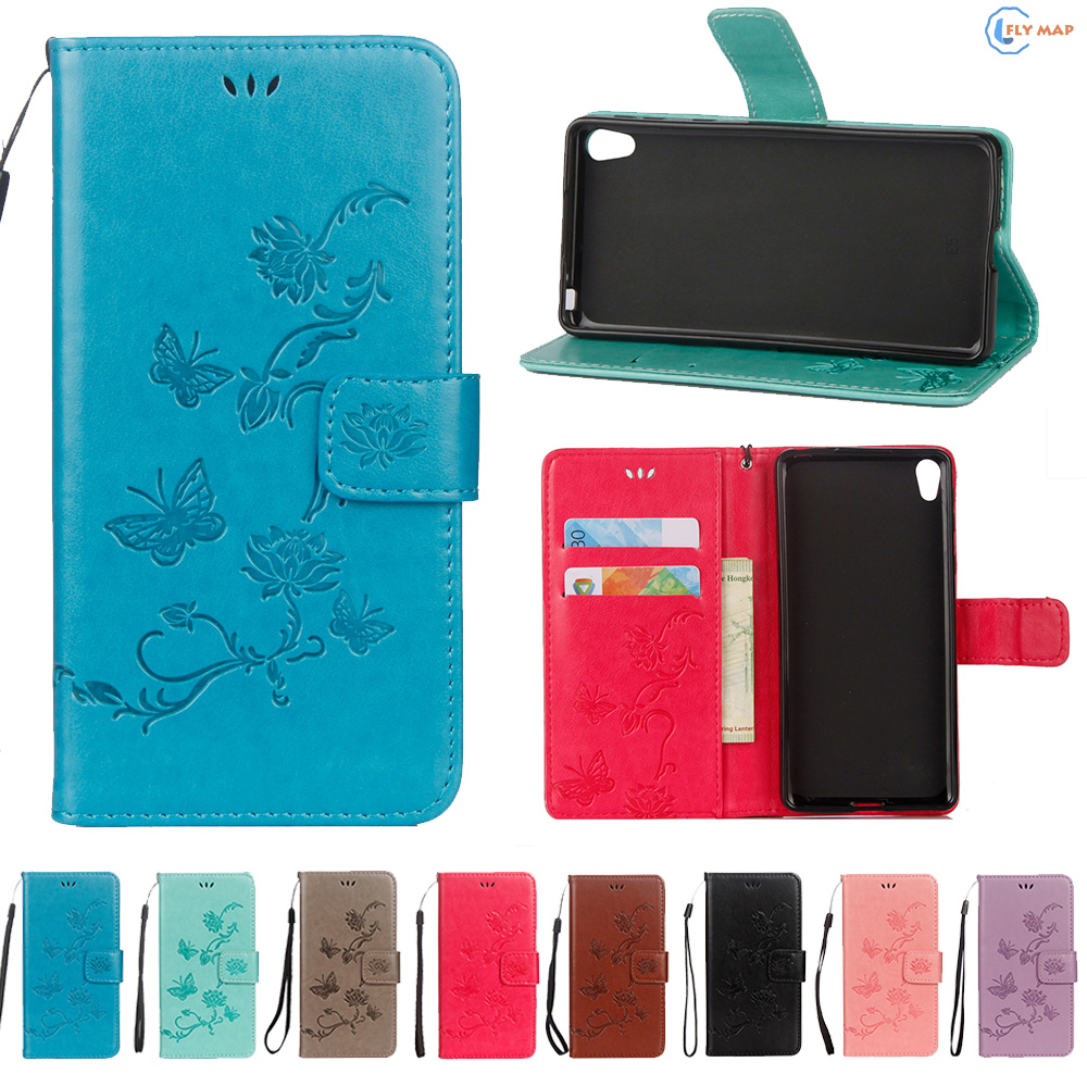 Flip Coque For Sony Xperia E5 E 5 F3311 TPU Lotus butterfly Mobile Case Phone Leather Cover For Sony Xperiae5 F 3311 F-3311 Box