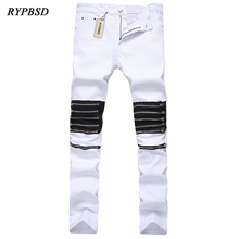 2017 Hip Hop Men Jeans Knee Zipper Hole Punk Biker Jeans Men Skinny Elastic White Red Casual Denim Pants Men Plus Size 29-40