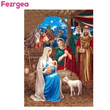 Fezrgea 5D Diy Diamond Painting Religion Icon of Leader Diamond Embroidery Cross Stitch Round Diamond Mosaic Needlework Crafts fezrgea 5d diy diamond painting religion icon of leader diamond embroidery cross stitch round diamond mosaic needlework crafts