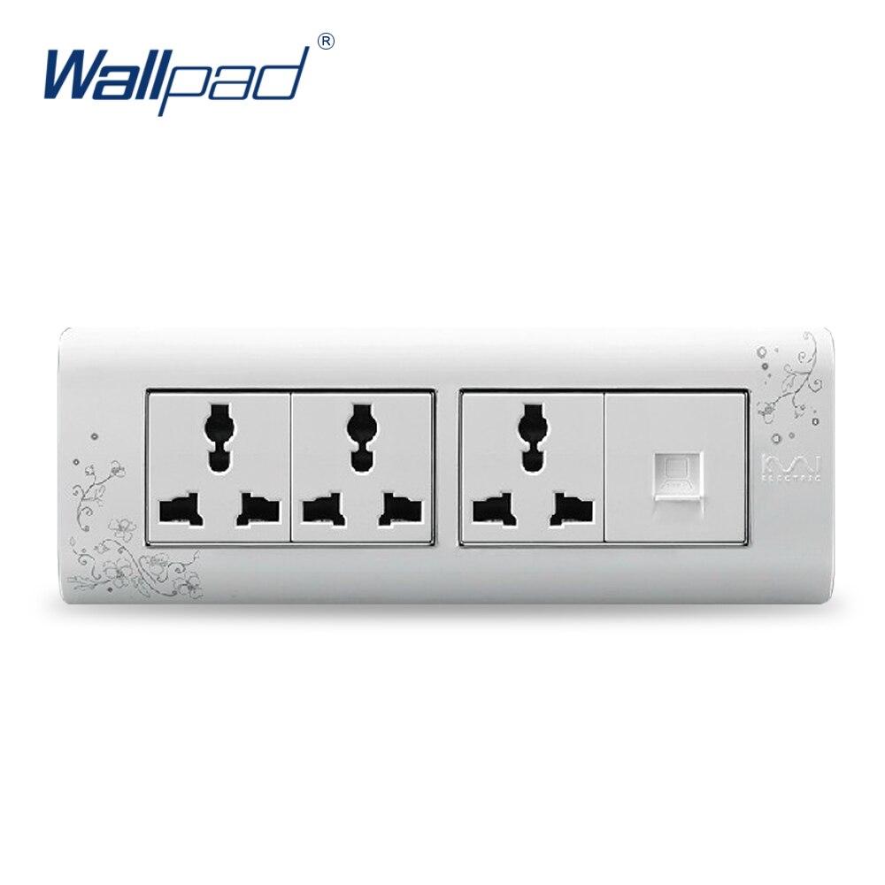 2018 Hot Sale Computer 9 Pin Socket Wallpad Luxury Wall Switch Panel Plug Socket 197*72mm 10A 110~250V free shipping wallpad luxury wall switch panel 6 gang 2 way switch plug socket 197 72mm 10a 110 250v