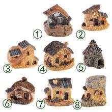 1pc 15 Style Mini Small House Cottages DIY Toys Crafts Figure Moss Terrarium Fairy Garden Ornament Landscape Decor Home