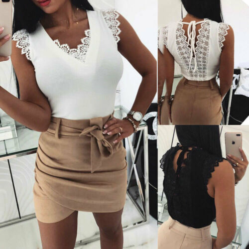 2019 Women's Summer Fashion V-Neck Solid Lace Tees Sexy Ladies Vest Girls Sleeveless Casual T-Shirt