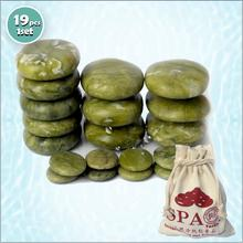 new 19pcs/set green jade body massage hot stone SPA with canvas CE and ROHS 5pcs(6x8)+6pcs(6x8)+8