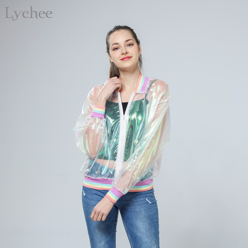 Lychee Harajuku Sommer Frauen Jacke Laser Regenbogen Symphonie Hologramm Frauen Mantel Schillernden Transparent Bomberjacke Sunproof