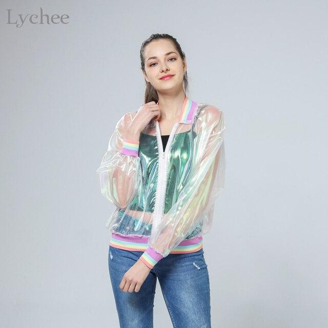 talla 40 bfb9d 2535b € 12.04  Lychee Harajuku verano Mujer chaqueta láser Arco Iris sinfónica  holograma mujer abrigo iridiscente bombardero transparente chaqueta a  prueba ...