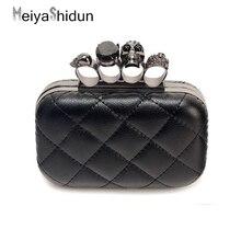 MeiyaShidun Diamant Fingerring schnalle frauen Abendtaschen Retro Schädel bling Tag Kupplung hochzeit clutches geldbörse handtaschen