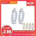 Effie Queen Big Round Hoop Female Earring Eternity Style with Shiny Zircon Bar Setting Luxury Earrings for Women Wholesale DE144
