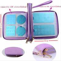 1Pc 192 Slots PU Leather Nail Plates Holder Storage Bag Nail Art Stamping Double layer Image Plate Case/Folder