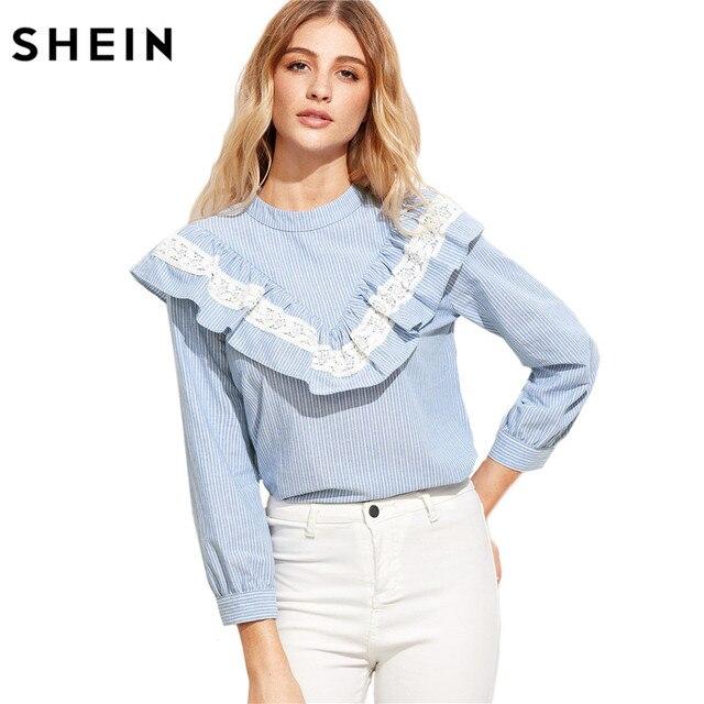 online store 5b2c3 4fe91 US $29.04  SHEIN Donne Top e Camicette 2017 New Fashion Manica Lunga Carino  Donna Top Blu A Strisce Verticale Lace Trim Ruffle Camicetta in SHEIN ...