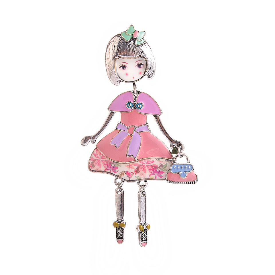 Fashion Doll with a Bag Brooch Alloy Broches Women Cartoon Enamel Pin up Girls Clothes Dress Brooches Pins Woman 39 s Accesories in Brooches from Jewelry amp Accessories