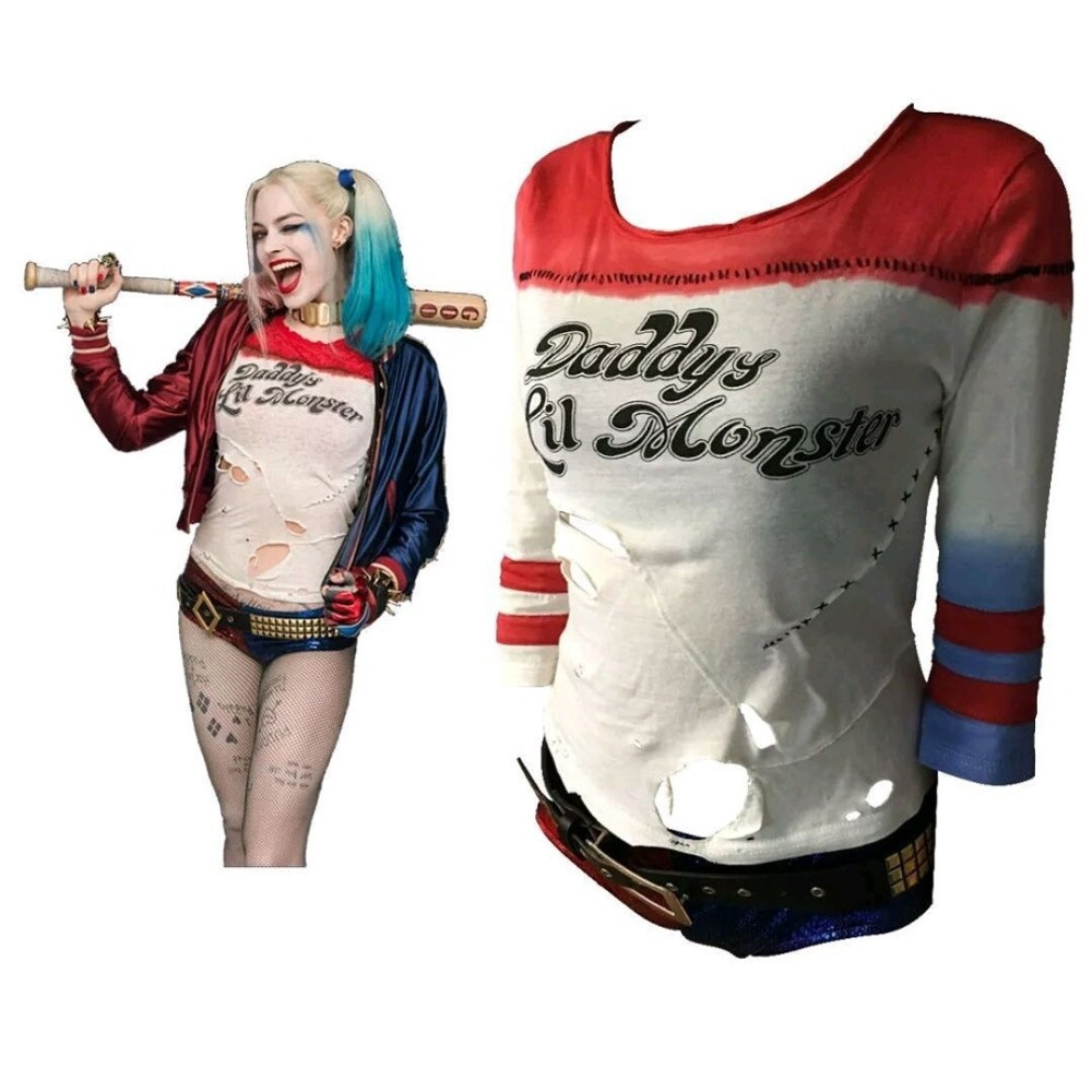Batman Arkham Asylum City 2018 Suicide Squad Harley Quinn Costume T Shirt Daddy's Lil Monster T Shirt Cosplay Costumes With Hole
