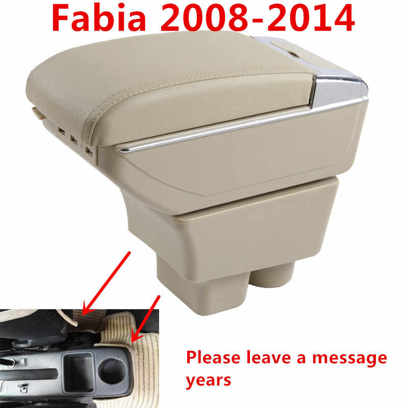 For Skoda Fabia 2008-2014 Armrest Box Car Center Storage Box With Cup Holder Arm Rest Rotatable Car-styling Interior Accessories