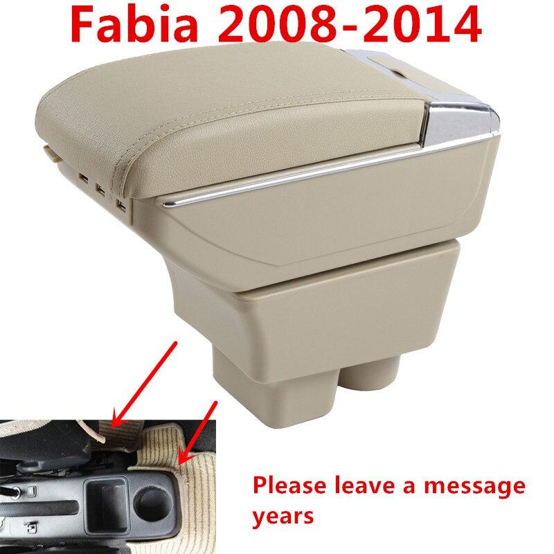 Para skoda fabia 2008-2014 caixa de apoio de braço centro do carro caixa de armazenamento com suporte de copo braço resto rotatable carro-estilo interior acessórios