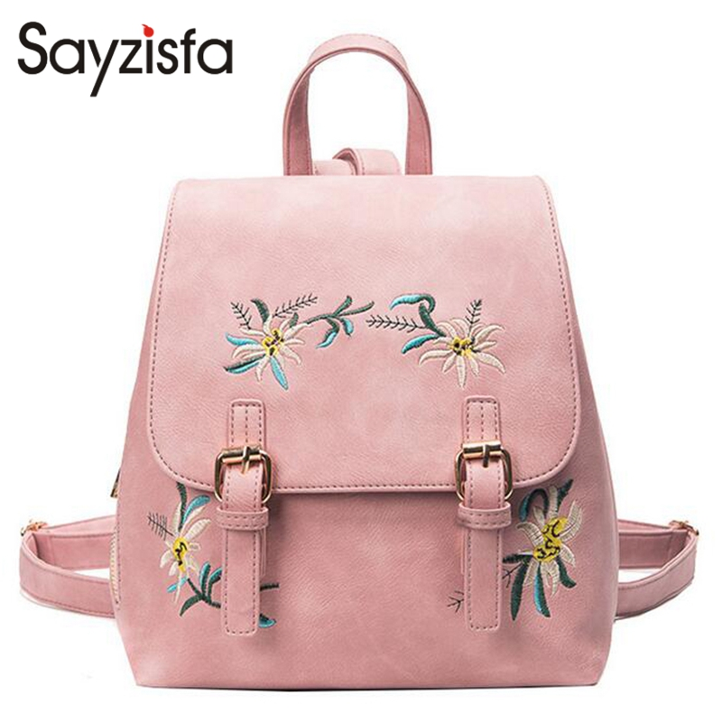 Sayzisfa 2018 Fashion Floral Pu Leather Backpack Women Embroidery School Bag For Teenage Girls Brand Ladies Small Backpacks T294 2017 new embroidery butterfly women backpack school bags for girls brand shoulder bag fashion pu leather ladies travel backpacks