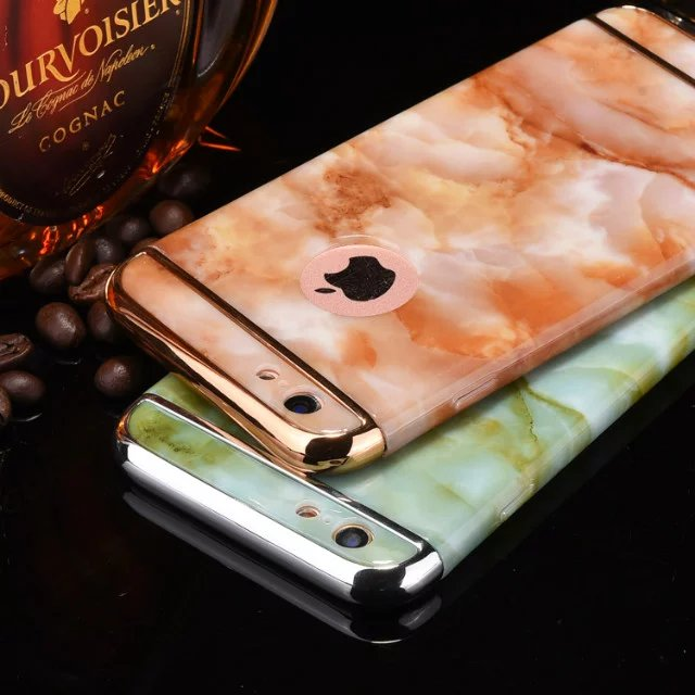 3-in-1 Luxury Plating Protective Case Fashion Marble Stone Phone Case On The for Apple iPhone 6 Plus 6s Plus Coque Bumper Cases