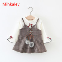 Mihkalev Wholesale 2018 Spring Todder baby girl clothing set t shirt and dress kids girls clothes suits (1 dozen include 4 sets)