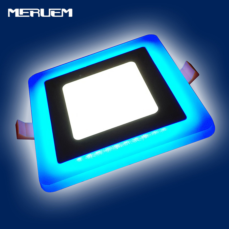 Blue+White Square LED Panel Downlight 5W 9W 16W 24W 3 Model LED Panel Lights AC85-265V Recessed Ceiling Painel Lights CE ROHS tl19d24x1w 24w led driver white blue 85 265v