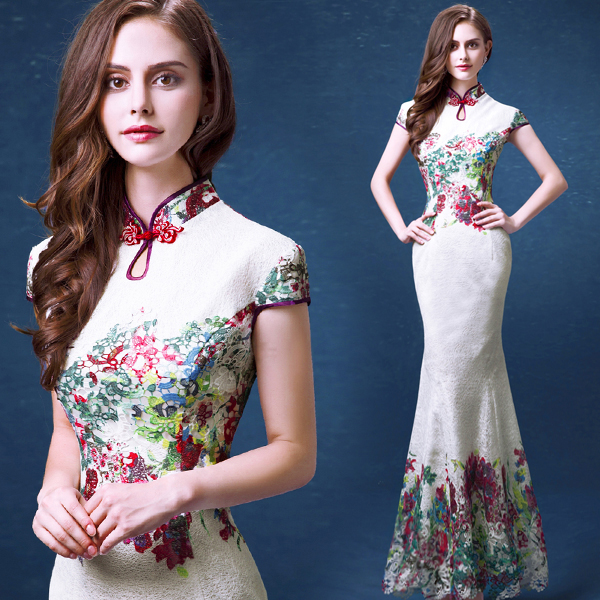 New white chinese traditional wedding dress lace cheongsam long evening  dress sexy modern qipao mermaid wholesale 7582 961c51fd84fa