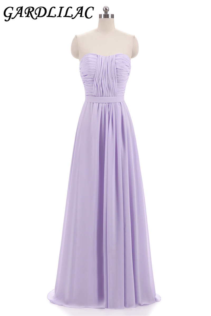 Gardlilac Lavender pink Long Bridesmaid dress Chiffon Pleat Floor Length Sweetheart Robe De Soiree Guest Wedding Party Dress