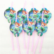 10PCS Pretty Mermaids Party Supplies Drinking Straws Birthday Festive Decoration Paper Holiday