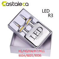 Castaleca 2Pcs Super Bright Car LED R3 Headlight H7 H1 H3 H4 H11 9004 9005 9006