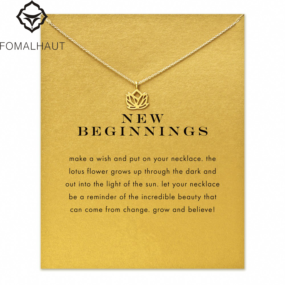 new beginnings lotus Pendant necklace Clavicle Chains Statement Necklace Women FOMALHAUT Jewelry