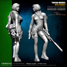 цена на Yufan Mode 1/24 Soldier Model Sexy Female Sniper Resin Figure Kit 75mm colorless And Self-assembled Yfww-1842