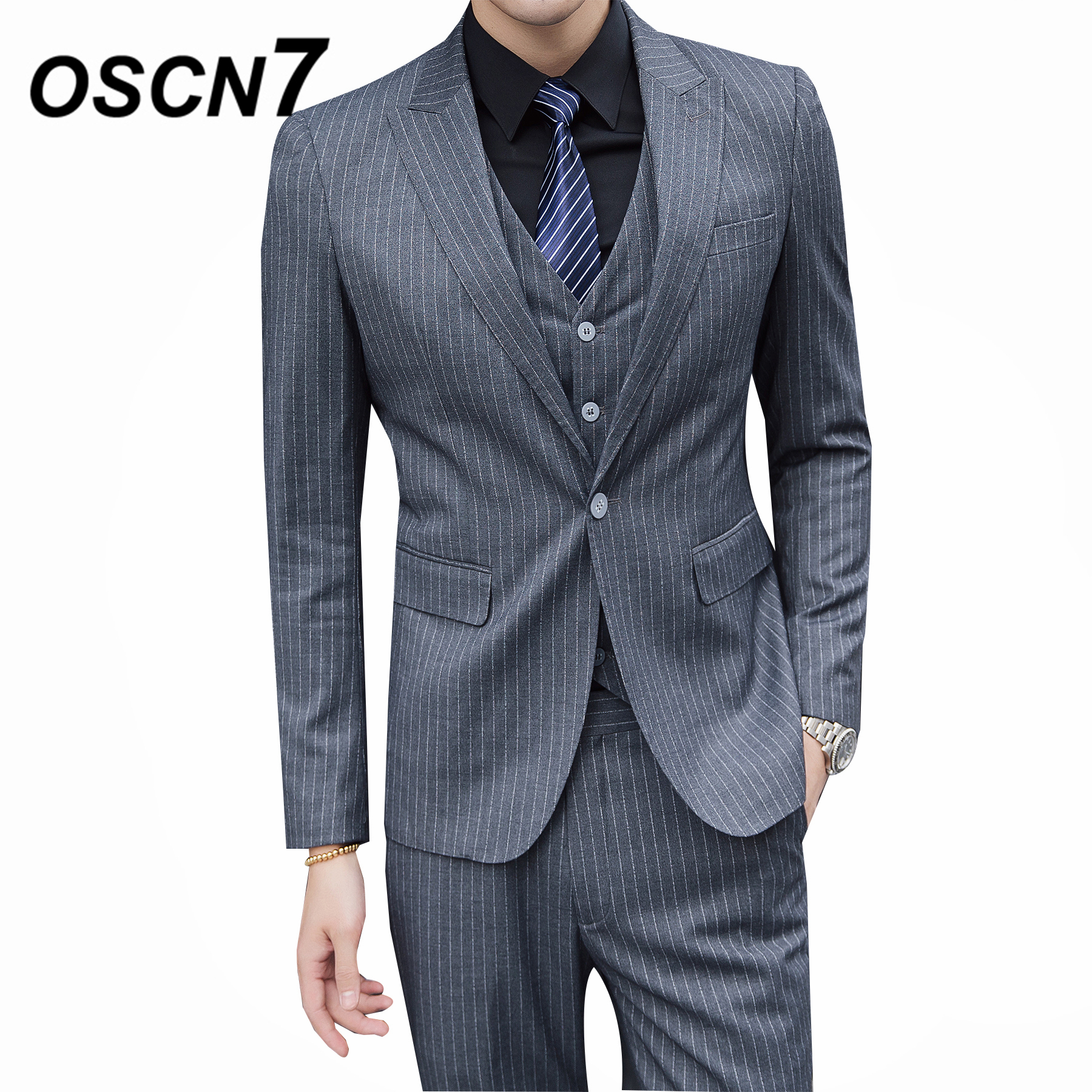 ab83f23c266 Aliexpress.com   Buy OSCN7 Gray Striped Mens 3PCS Suits Plus Size Casual Business  Formal Dress Suit Wedding Fashion Terno Masculino 6144 from Reliable Suits  ...