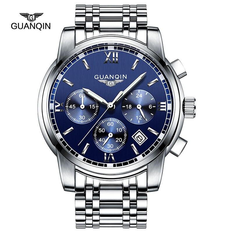 GUANQIN New Brand Luxury Business Chronograph Man Watch Stainless Steel Quartz-Watch Waterproof Function Best Gift Watch For Men кеды superga superga su014awihy38