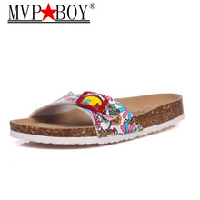 купить Mvp Boy New Fashion Summer Cork Slipper Sandals Women Casual Beach Mixed Color Flip Flops Slides Shoe Flat Plus Size 35-43 по цене 925.95 рублей