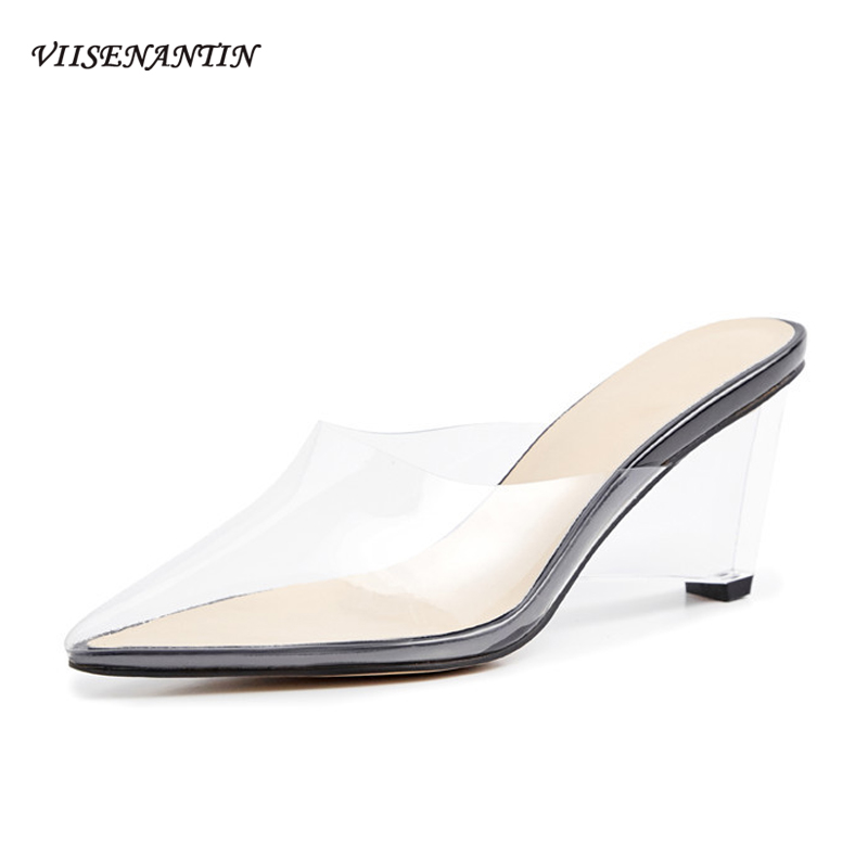 VIISENANTIN transparent lady summer slipper shoe strange wedge high heel all match cool slides pointe toe concise