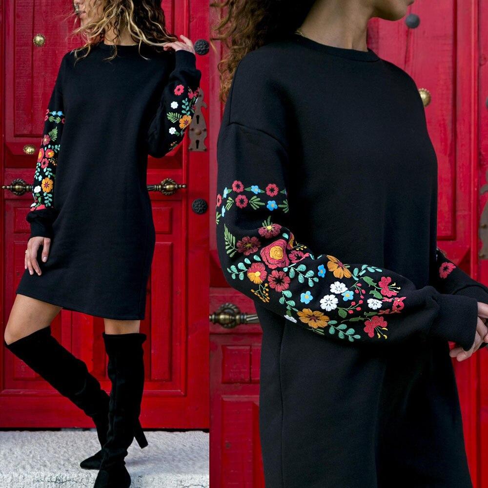 Robe femmes imprimé Floral à manches longues col rond lâche mince chaud sexy Mini robes élégant multicolore noir mujer automne vestido 2019