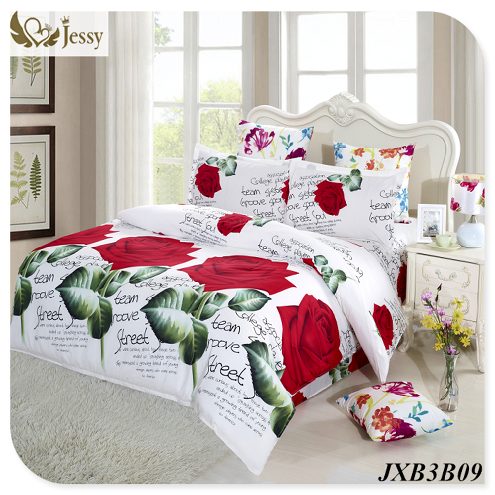 Wedding bed sheet set - Jessy Home 3d Bedding Set Quilt Cover Bedsheet Set Bed Linens Luxury Wedding Red Rose Bedding