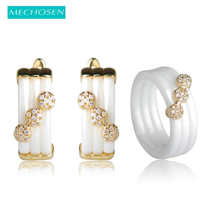 MECHOSEN Ceramic Jewelry Sets Earrings&rings CZ Zircon Copper Rhinestone Aros Princess Hooks Earrings Women Men Keramik Schmuck