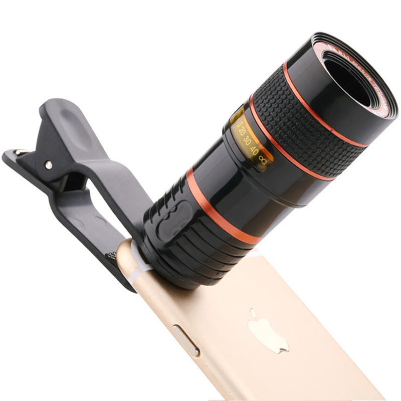 8x18 Zoom Mobile Monocular Telescope Camera Lens Night Vision Mini Universal Optical Clip Telephoto Black for Phone Accessories