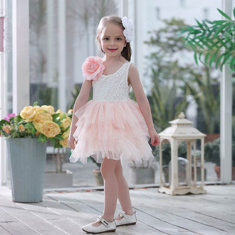 Wholesale Summer New Girl Lace Dress Gauze Princess Vest Dress Girl Party Sundress Layered Dress Children
