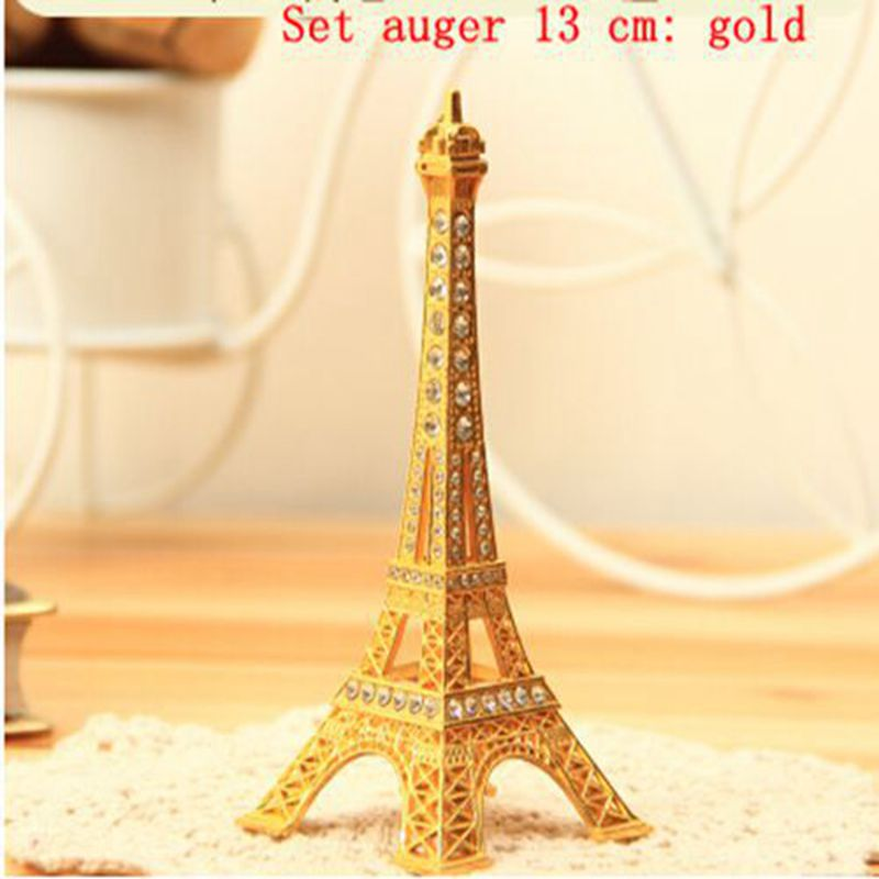 Free shipping 2 PCS Multicolor optional metal home decor items set auger model props crafts the Eiffel Tower 13 cm 011030001