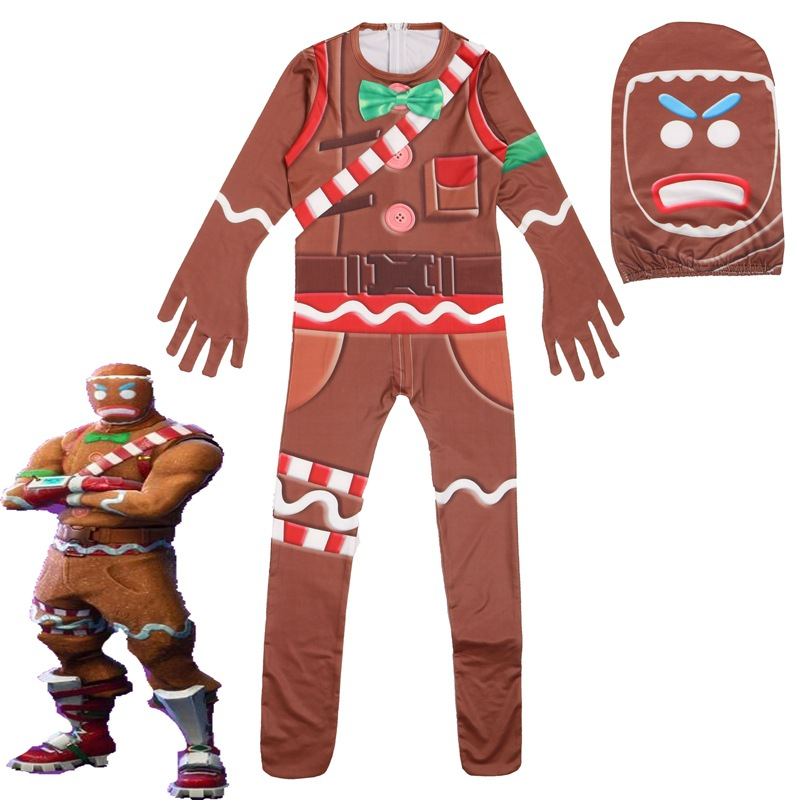 Kids Gingerbread Man Cosplay Costume Boys Girls Video Game Costume Cosplay Halloween Christmas Fancy Dress Kids Jumpsuit Mask
