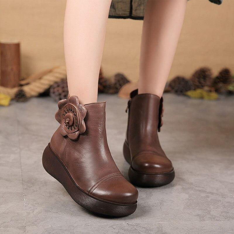964d29e9e6 De Mocasines Planos Botines Hecho Ocasionales Zapatos A Las Marrón Genuino Cómodos  Señora Suave Cuero Mujeres ...