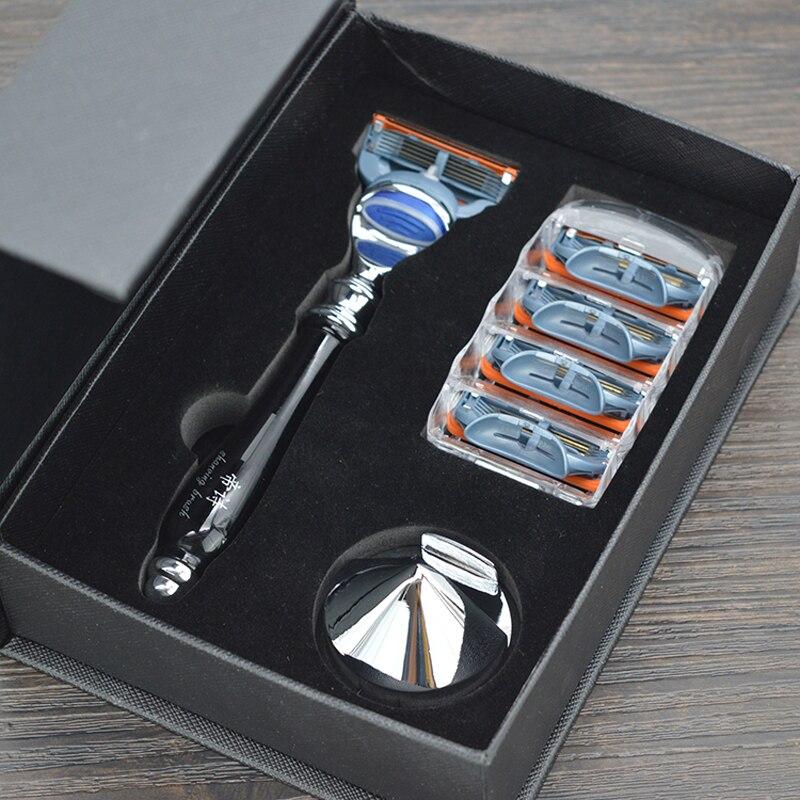 DS haute qualité rasoir rasage ensemble 3 pièces de sécurité rasoir stand et 5 couches lame pour homme