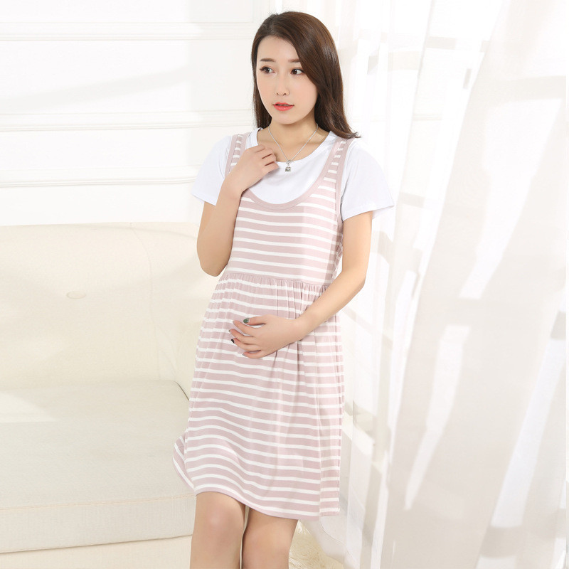 Brand redhave Lactation summer pregnant women and nursing dress autumn Pure cotton Fashion short sleeve maternity striped dress