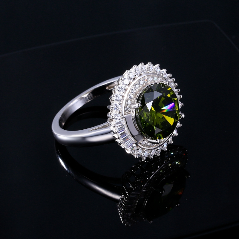 Womens Jewelry S925 Silver Ring AAAAA Olive Green Round Zircon Ring Elegant Jewelry Mothers Day Teacher Gift
